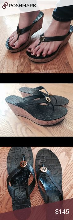 """Tory Burch """"Thora"""" cork wedge Tory Burch Signature gold metal medallion centers the shiny patent leather straps of a lofty, cork-wedge thong with a logo-textured leather footbed. Color: black (only worn once) Tory Burch Shoes Wedges"""