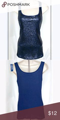 "NWT Old Navy Sequin tank top Navy Blue with Sequins on Front, Solid Ribbed Back, Scoop Neck, Sleeveless 60% Cotton  40% Polyester 15"" across laying flat from armpit to armpit  27"" long from shoulder to hem Feel free to make an offer! Old Navy Tops"