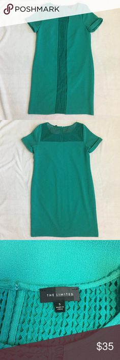 """The Limited Teal Shift Dress The Limited Shift Dress  - Size: S  - Teal  - Lined, pullover style  - Shell: 97% polyester, 3% spandex  - Lining: 100% polyester  - Trim: 100% cotton  - Length from top of shoulder to bottom of dress 36"""" approximately The Limited Dresses"""