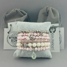 Bransoletka perły naturalne ecru różowy kryształek Malachite