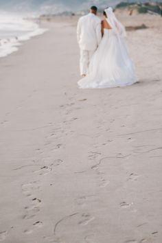 Bride and Groom Beach Portrait - Beach Weddings at The Sunset - Malibu, California - Photography: www.luminaireimages.com
