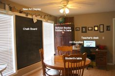 homeschool room ~this is nice because you could do this and have it not interfere with the decor of the house.  Especially good if you are trying to sell your house or you have limited space.