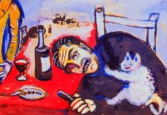 Man at table (holding a contented white cat) | Marc Chagall, 1911