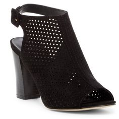 Madden Girl Beckie C Perforated Bootie ($37) ❤ liked on Polyvore featuring shoes, boots, ankle booties, black fabric, block heel booties, open toe bootie, short boots, open toe ankle boots and ankle boots
