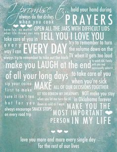 Wedding Vows Typography. $45.00, via Etsy. This is a good idea-- to print the wedding vows for our bedroom.