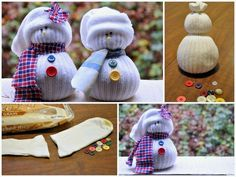 Sock Snowmen | 36 Adorable DIY Ornaments You Can Make With The Kids