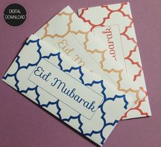 SET OF 3 Printable Moroccan Eid Money Envelope by CrescentandDawn