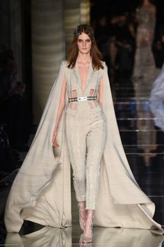 Zuhair Murad Spring 16 Couture | Nude caped jumpsuit with metallic belt | The Luxe Lookbook