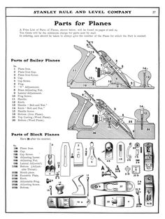 Stanley Plane Identification and Stanley Plane Dating: What year and type is your Stanley Bailey handplane? Find out with this Stanley Bailey Plane Type Study. Helpful for Traditional Woodworkers and Woodworking Hand Planes, Antique Woodworking Tools, Antique Tools, Old Tools, Vintage Tools, Fine Woodworking, Woodworking Projects, Woodworking Magazine, Woodworking Workshop