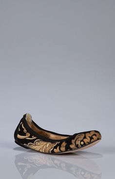 Boheme Ballerina flat with elasticized topline, leather lining, and leather outsole.
