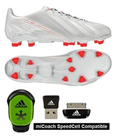 The all white Adidas F50 adizero offers pure colors to one of the fastest boots on the field. The super lightweight soccer boot is worn by world class striker Leo Messi and Robin Van Persie. Get yours today at soccercorner.com