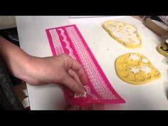 How To Make Gelatin Lace for Cake Decorating. The recipe is: 3 Tbsp Water 1 tsp glycerine a few drops of food coloring (gel or liquid) 1 Tbsp gelatin (I Tbsp...
