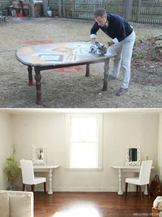 This is a round up of using broken old things for new - LOTS of ideas, but I love this table into two desks idea! LOVE IT!!!