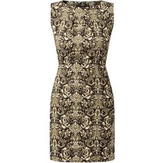 Mela Black Zip Pocket Baroque Print Dress ($39) ❤ liked on Polyvore