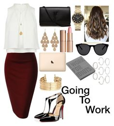 """•Going To Work•"" by sydni77 ❤ liked on Polyvore featuring Yves Saint Laurent, Christian Louboutin, H&M, Irene Neuwirth, Marc by Marc Jacobs, Charlotte Tilbury, Nuuna, Smoke & Mirrors and Forever 21"