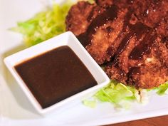 Tonkatsu Sauce (Japanese-style bbq sauce) to go over delicious fried pork cutlet.