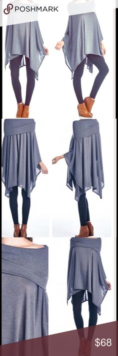 Starfall Draping Foldover Poncho NWOT Cover Shoulder Poncho MADE IN THE USA! Asymmetrical Draping Flattering Fit Color is DARK GREY/SLATE Oversized Slouchy Sweater Shop us on Pinterest! https://www.pinterest.com/BohoLocoFashion Shop us on Twitter! https://twitter.com/FashionBohoLoco Follow us on Instagram! https://instagram.com/FashionBohoLoco Striped Wrap Coat Marled Knit Chiffon Blouse  Oversized Long shift FashionBohoLoco Sweaters