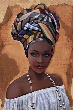 """African in White"" - French Art {figurative beautiful female headdress pearls bl. - Simone Curtis - - ""African in White"" - French Art {figurative beautiful female headdress pearls bl. Black Love Art, Black Girl Art, Art Girl, African Artwork, African Art Paintings, African Prints, African Fabric, African Drawings, African Beauty"