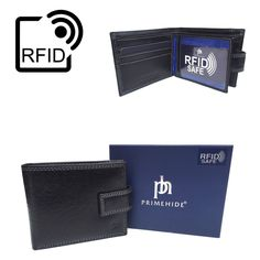 RFID Blocking Mens Luxury Black Leather Bifold Wallet Prime Hide RFID SAFE 4151