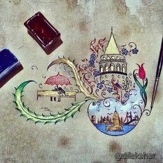 İstanbul Aşk- Dilek Şar Islamic Calligraphy, Calligraphy Art, Acrilic Paintings, Color Poem, Persian Motifs, Turkish Art, Illuminated Letters, Tile Art, Islamic Art