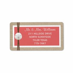 Sand Dollar Beach Wedding Labels- Coral Personalized Address Labels