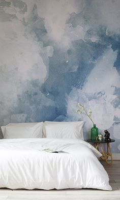 Blue & White Grunge Watercolor Wallpaper Fall in love with this watercolor wallpaper design. Beautiful swashes of inky blues come together to give you a stylish yet modern look! Its versatile design and balanced colour make it perfect for any room. Trendy Bedroom, Modern Bedroom, Bedroom Decor, Grunge Bedroom, Blue Bedroom, Bedroom Furniture, Bedroom Ideas, Master Bedroom, White Furniture