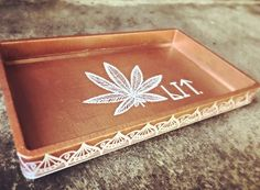 Bronze Lit Rolling Tray Smoking Accessories Gift for Puff And Pass, Smoking Accessories, Bongs, Girly Things, Cannabis, Weed Pipes, Tray, Hand Painted, Some Girls