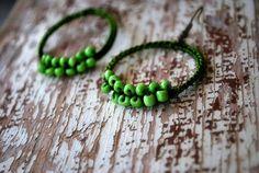 Green Beaded Hoop Earrings by LavenderField on Etsy, $21.00