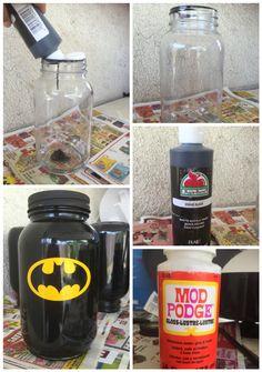 Batman Mason Jar piggy bank DIY.!
