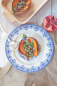 Baked Sweet Potato with Pomegranate Tabbouleh