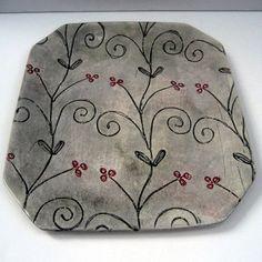 Platter/tray, pottery, ceramic, stoneware, clay hand built,. $68.00, via Etsy.