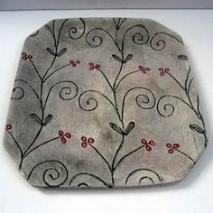 Platter/tray, pottery, ceramic, stoneware, clay hand built,. $68.00, via Etsy.