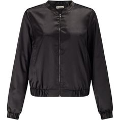 Miss Selfridge Black Satin Bomber (€52) ❤ liked on Polyvore featuring outerwear, jackets, black, women, blouson jacket, flight bomber jacket, satin jackets, bomber jacket and miss selfridge