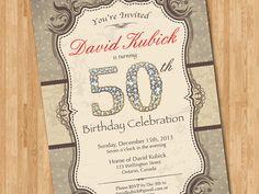 30th, 40th, 50th, 60th 70th, 80th Birthday Invitation. Vintage and gold diamond birthday party invite. Any age. Printable digital DIY.