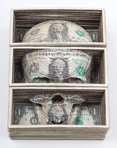 laser cut dollars // http://laughingsquid.com/laser-cut-dollar-sculptures-by-scott-campbell/