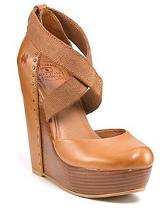 "Lucky Brand ""Nana"" Platform Wedges.Classic leather meets modern elastic in Lucky Brand's towering wedges. Pair with textured tights for even more chic contrast.•5"" wedge, 1 1/2"" platform"