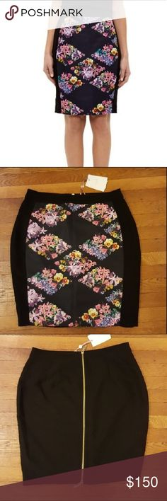 NWT Ted Baker Lost Gardens Diamonds Pencil Skirt Geometric floral arrangement on front with two-way zip closure in back Length 22.5 inches waist 17.5 inches Ted Baker Skirts Pencil