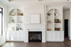 Living Spaces - Oakstone Homes Bookshelves Around Fireplace, Office With Fireplace, Built In Around Fireplace, Fireplace Built Ins, Home Fireplace, Bookshelves Built In, Living Room With Fireplace, My Living Room, Fireplace With Bookshelves