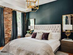 of the Week: Industrial Meets Glam Bedroom — Cobalt Gold Glam Bedroom, Home Bedroom, Bedroom Decor, Modern Bedroom Design, Modern Room, Bedroom Designs, Industrial Bedroom Design, Modern Bedrooms, Contemporary Bedroom