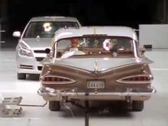 A small 2009 car demolishes a 1959 Chevy in a crash test
