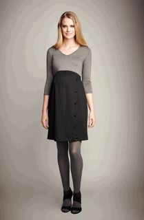 Faux Buttoned Maternity Dress in Black or Plum by Maternal America