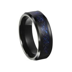 Black plated tungsten ring with blue carbon fiber based black dragon inlay 6mm and 8mm width available