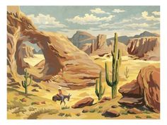 Desert Landscape With Cowboy - Posters av Pop Ink - CSA Images på AllPosters. Art Encadrée, Ouvrages D'art, Art Occidental, Westerns, Framed Art, Wall Art, Cowboy Art, Fine Art Prints, Canvas Prints