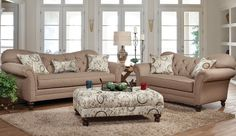 Serta Upholstery by Hughes, Sofa, Loveseat, and Ottoman. Cushions are reversible. Fabric is Abington Safari and the pillows & ottoman, the fabric is Timeless patina.