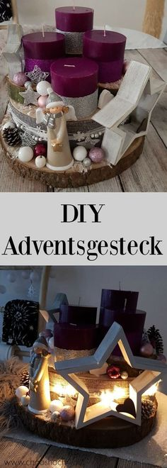 unser Adventsgesteck aus Baumscheiben - Easy, quick and cheap to make an Advent arrangement from tree slices and Christmas decorations from the 1 € shop. Nevertheless, this modern DIY advent wreath is a mega eye-catcher on every table. Christmas Advent Wreath, Christmas Time, Christmas Crafts, Cheap Christmas, Thanksgiving Crafts, Christmas Centerpieces, Xmas Decorations, Christmas Candles, Winter Diy