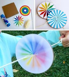 11 Cool Toys You Can Make With Your Children Right Now - - Kids DIY paper spinners Summer Crafts For Kids, Fun Crafts For Kids, Projects For Kids, Diy For Kids, Diy And Crafts, Arts And Crafts, Paper Crafts, Diy Paper, Decor Crafts