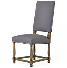 Charles French Country Grey Linen High Back Dining Room Chair