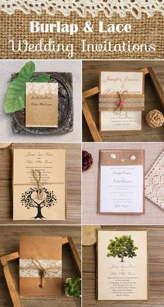 burlap and lace rustic and vintage wedding invitations