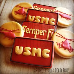 USMC Decorated Cookies by Grunderfully Delicious-Semper Fi!