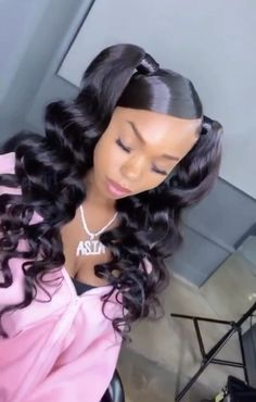 Black Hair Updo Hairstyles, Pigtail Hairstyles, Baddie Hairstyles, Black Girls Hairstyles, Braided Hairstyles, Natural Hair Bun Styles, Hair Ponytail Styles, Braid In Hair Extensions, Wig Styles